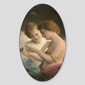 Cupid and Psyche peace love joy 45x Sticker (Oval)