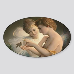Cupid and Psyche peace love joy 60x Sticker (Oval)