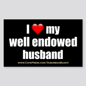 I Love My Well Endowed Husband 3x5 Sticker