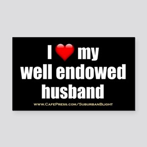 I Love My Well Endowed Husband 3x5 Rectangle Car M