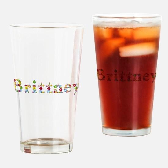 Brittney Bright Flowers Drinking Glass