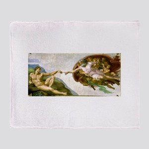 The Creation Of Adam Michaelangelo Throw Blanket