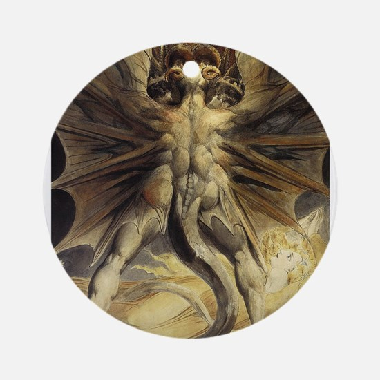 The Great Red Dragon William Blake Ornament (Round