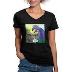 Pet T-Rex Women's V-Neck Dark T-Shirt