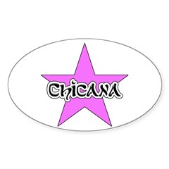 Pink Chicana Star Oval Decal