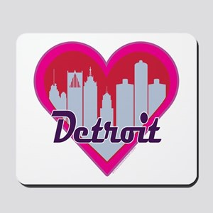 Detroit Skyline Heart Mousepad