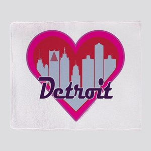 Detroit Skyline Heart Throw Blanket