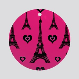 Trendy Pink and Black I LOVE PARIS Ornament (Round