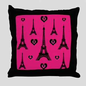 Trendy Pink and Black I LOVE PARIS Throw Pillow