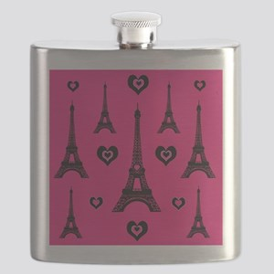 Trendy Pink and Black I LOVE PARIS Flask