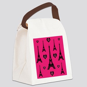 Trendy Pink and Black I LOVE PARIS Canvas Lunch Ba