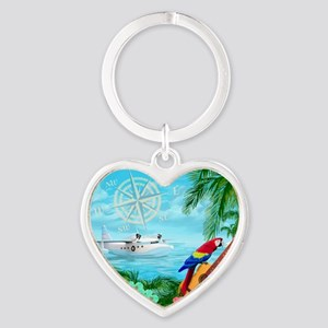 Tropical Travels Heart Keychain