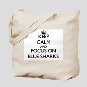 Keep calm and focus on Blue Sharks Tote Bag