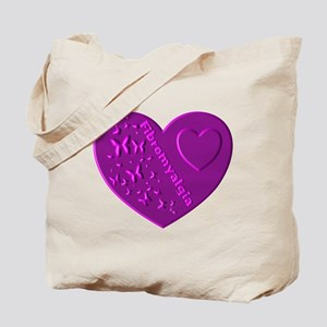 FIBROMYALGIA EMBOSSED HEART Tote Bag