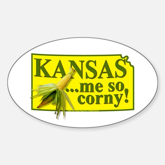 Kansas- Me So Corny! Oval Decal