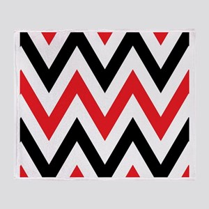 Black, white and Red chevrons  King  Throw Blanket