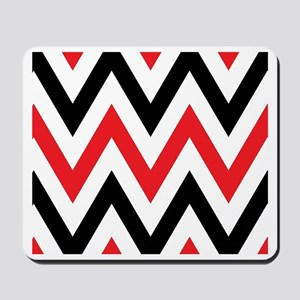 Black, white and Red chevrons  King Duve Mousepad