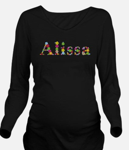 Alissa Bright Flowers Long Sleeve Maternity T-Shir