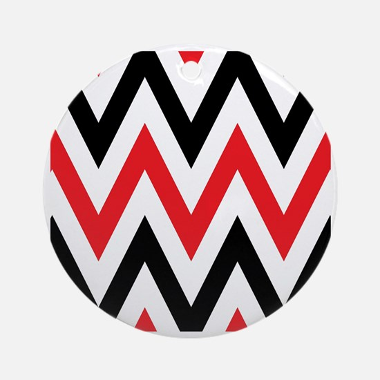 Black, white and Red chevrons  Quee Round Ornament