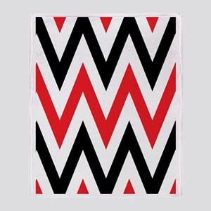 Black, white and Red chevrons Twin D Throw Blanket