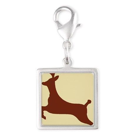Deer jumping Silver Square Charm