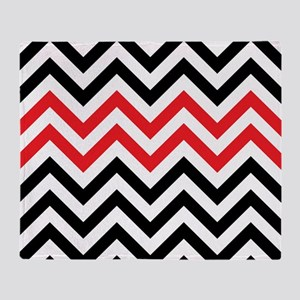 Black, white and Red chevrons 2  Que Throw Blanket