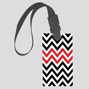 Black, white and Red chevrons 2  Large Luggage Tag