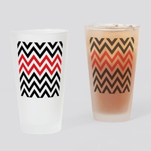 Black, white and Red chevrons 2 Twi Drinking Glass