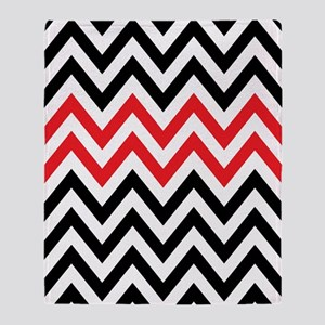 Black, white and Red chevrons 2 Twin Throw Blanket
