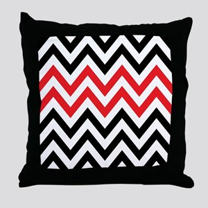 Black, white and Red chevrons 2 Twin  Throw Pillow