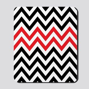 Black, white and Red chevrons 2 Twin Duv Mousepad