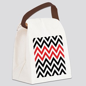 Black, white and Red chevrons 2 T Canvas Lunch Bag