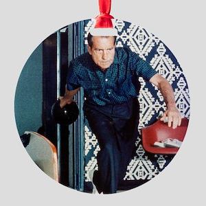 Richard Nixon Bowling Round Ornament
