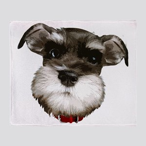 mini_schnauzer_face001 Throw Blanket