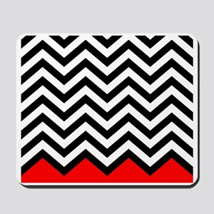 Black, white and Red chevrons 3  King Du Mousepad