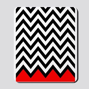 Black, white and Red chevrons 3 Twin Duv Mousepad
