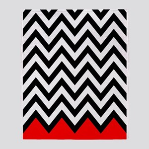 Black, white and Red chevrons 3 Twin Throw Blanket