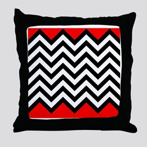 Black, white and Red chevrons 4 Queen Throw Pillow