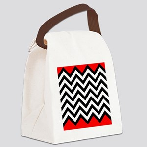 Black, white and Red chevrons 4 Q Canvas Lunch Bag