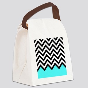 Black, white and turquoise chevro Canvas Lunch Bag