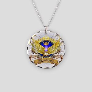 Sanchez Family Crest Necklace Circle Charm