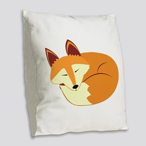 Cute Sleeping Fox Burlap Throw Pillow