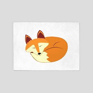 Cute Sleeping Fox 5'x7'Area Rug