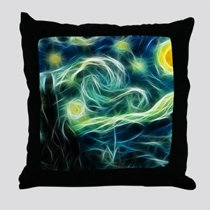 Starry Night Van Gogh Fractal Art Throw Pillow