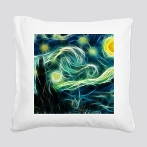 Starry Night Van Gogh Fractal Square Canvas Pillow