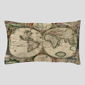 Vintage World Map Pillow Case