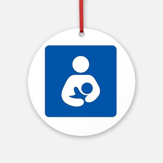 Breastfeeding Symbol [blue] Round Ornament
