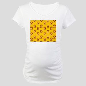 I Heart Bacon All Over - Yellow- Maternity T-Shirt