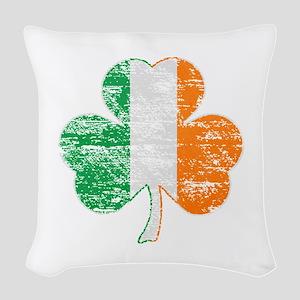 Vintage Irish Flag Shamrock Woven Throw Pillow