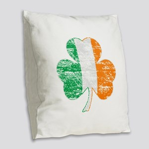 Vintage Irish Flag Shamrock Burlap Throw Pillow